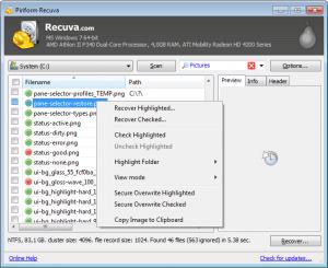 Hard Drive Recovery - Recuva software Screenshot