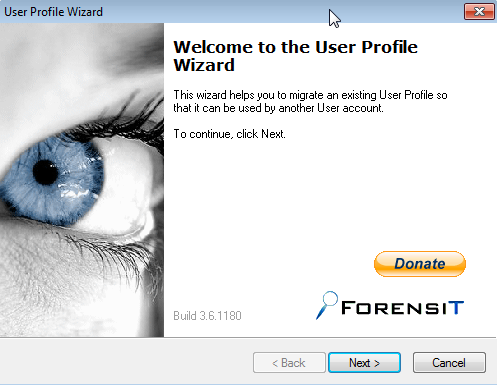 User Profile Wizard Screenshot