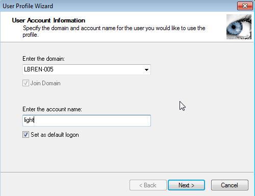 User Profile Wizard Screenshot