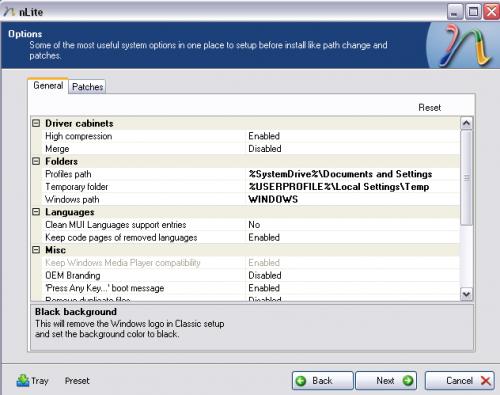 nlite windows xp Options