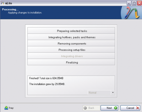 Processing nlite windows xp