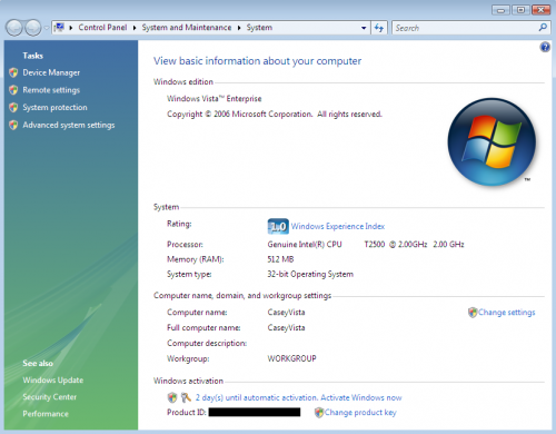 How to find and change a windows vista xp and 2003 for New windows products