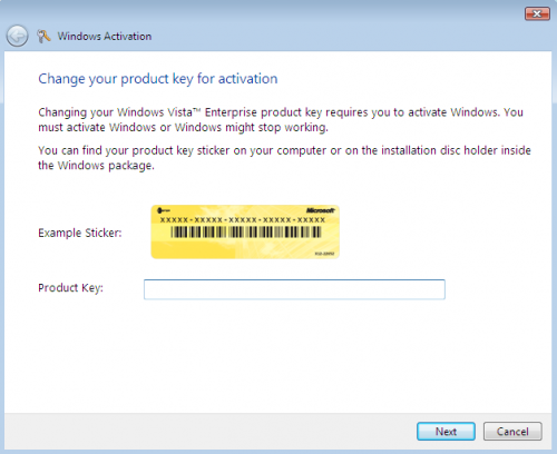 Vista Product Key Change