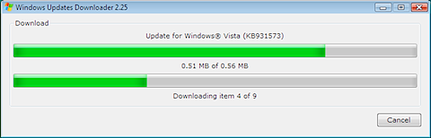 Windows 7 manual update - Windows Updates Downloader download progress bars