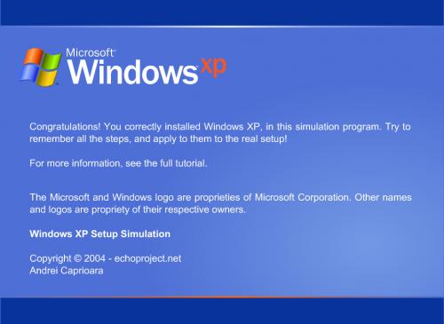 Windows XP Setup Simulator Screenshot