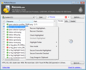 Hard Drive Recovery - Recuva software Screenshot