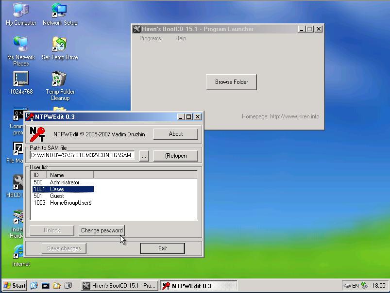hirens reset password for user