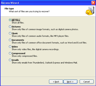 how to recover deleted files from recycle bin Windows 7 -Recuva File type
