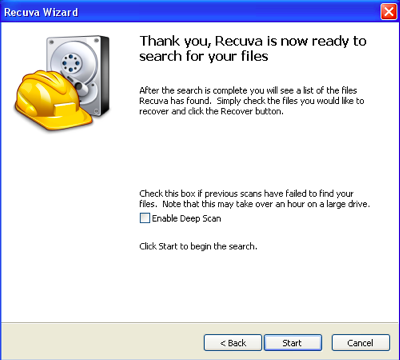 how to recover files deleted from recycle bin Windows 8 -Recuva Search