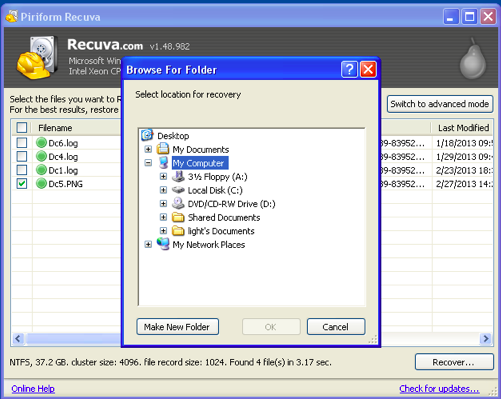 recycle bin recovery -Recuva Screenshot 5