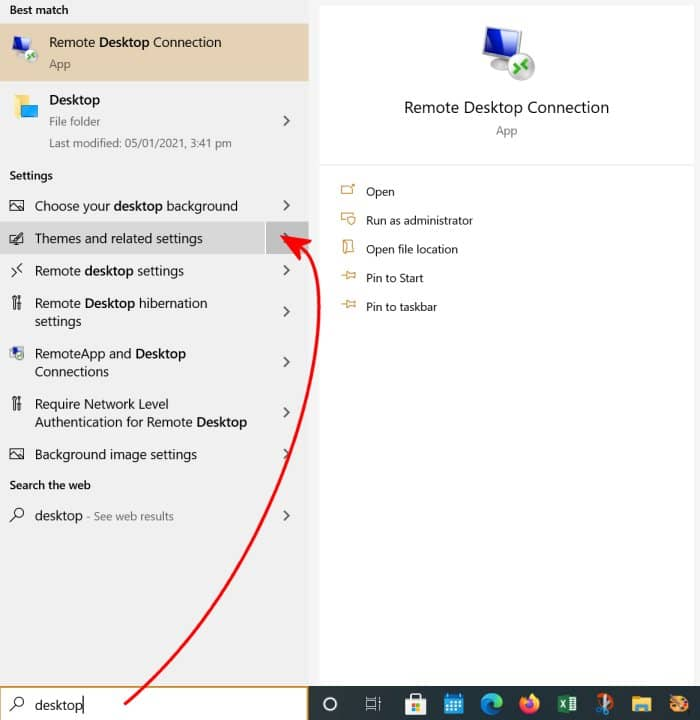 Show Desktop Settings via Search bar