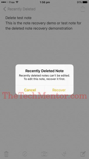 how to recover deleted notes on iPhone 7-recently deleted notes options