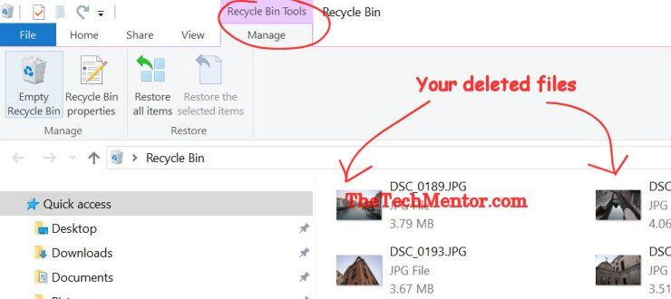 restore deleted files windows 10 from recycle bin
