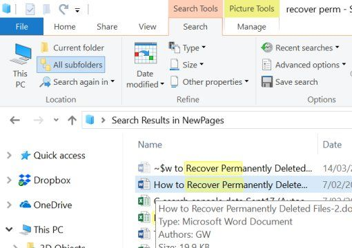recover premanently deleted files hover