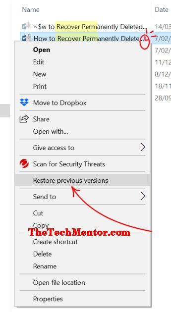 restore premanently deleted files previous versions