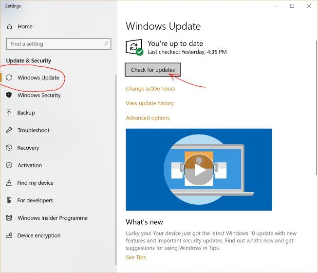 Check for windows 10 updates manually