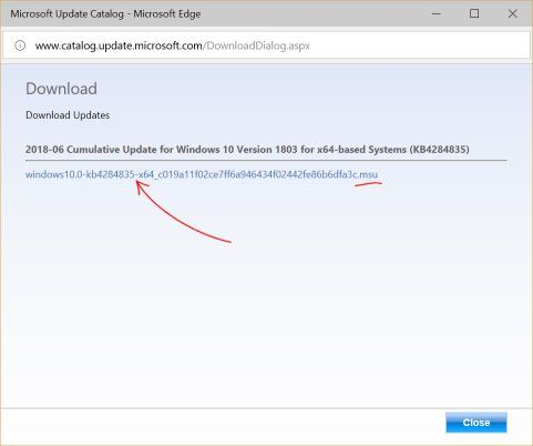manually download windows 10 updates msu