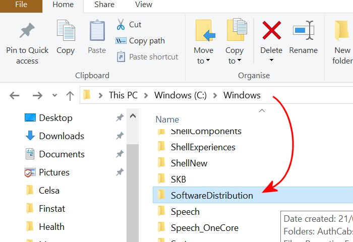 windows 10 update folder for the 0x80070002 fix