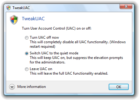 TweakUAC Screenshot
