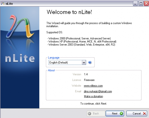 nlite windows xp - nLite install wizard