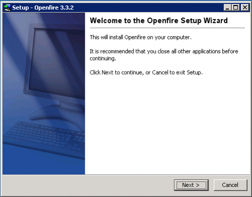 openfire im server set up wizard