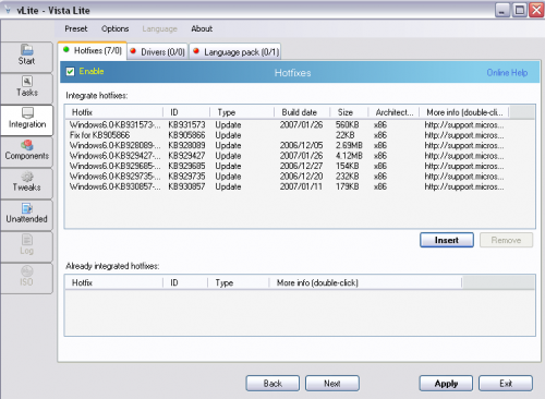 vLite - nLite Vista Lite Installation Integration